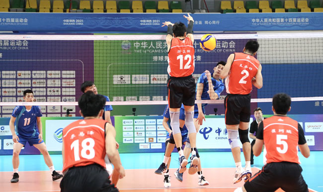 十四运会排球男子成年组决赛第四轮比赛:广东队迎来首胜