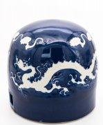 镇国之宝:元代霁蓝釉双白龙纹蒙古包瓷器